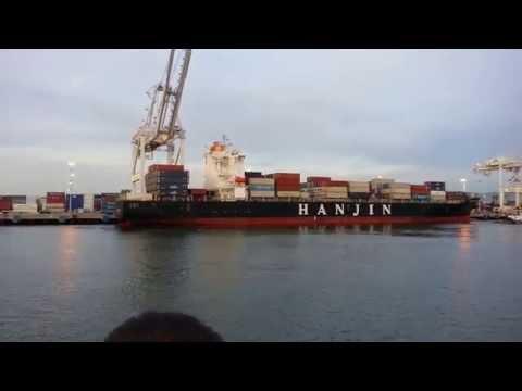 Ferry Ride View. Container Ship Hanjin Constantza,  China Shipping Line Yellow Sea. Port of Oakland