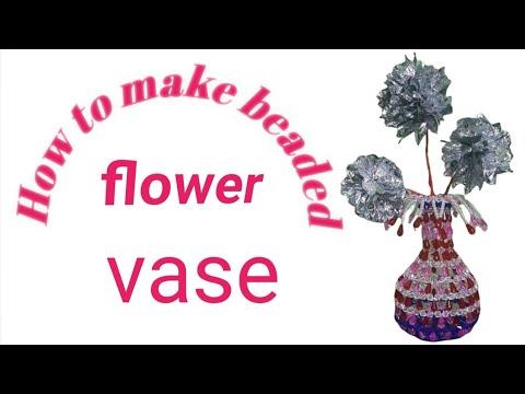 How To Make Beaded Flower Vase Youtube