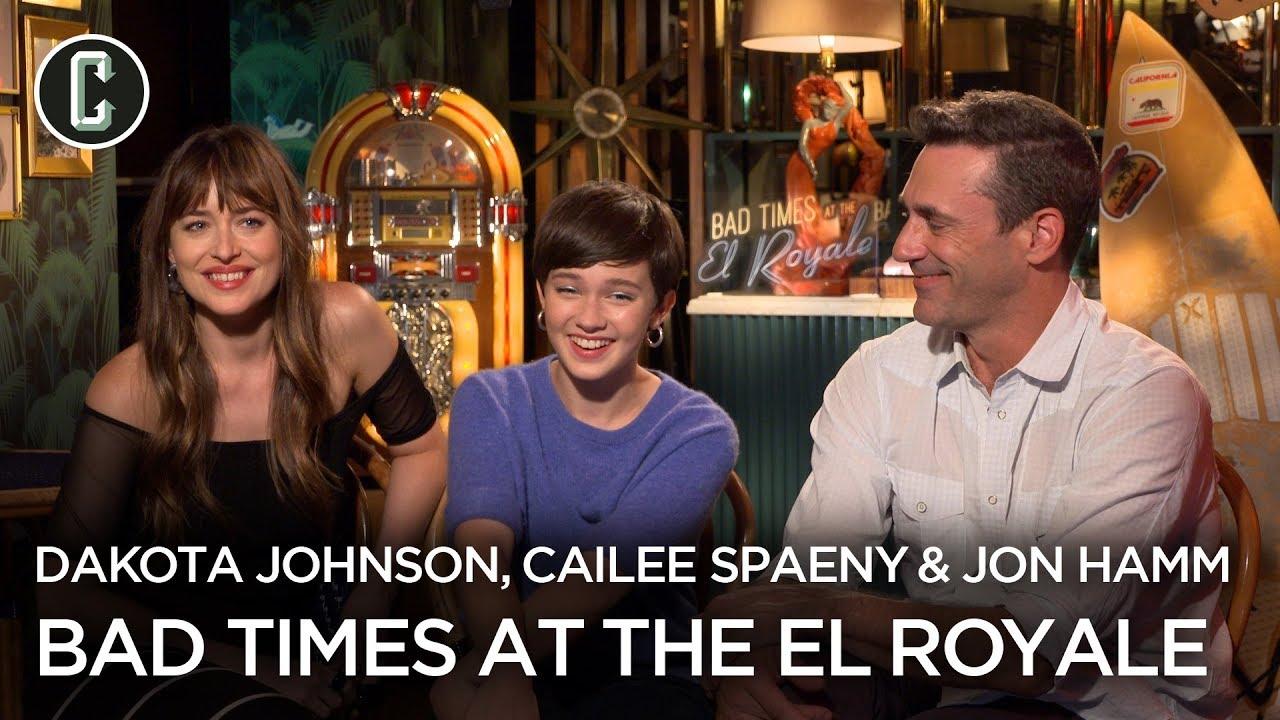 Dakota Johnson Jon Hamm Cailee Spaeny Talk Bad Times At The El Royale Youtube