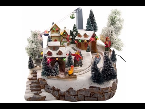 Illuminated, Animated & Musical Ski Resort Village Scene Ornament