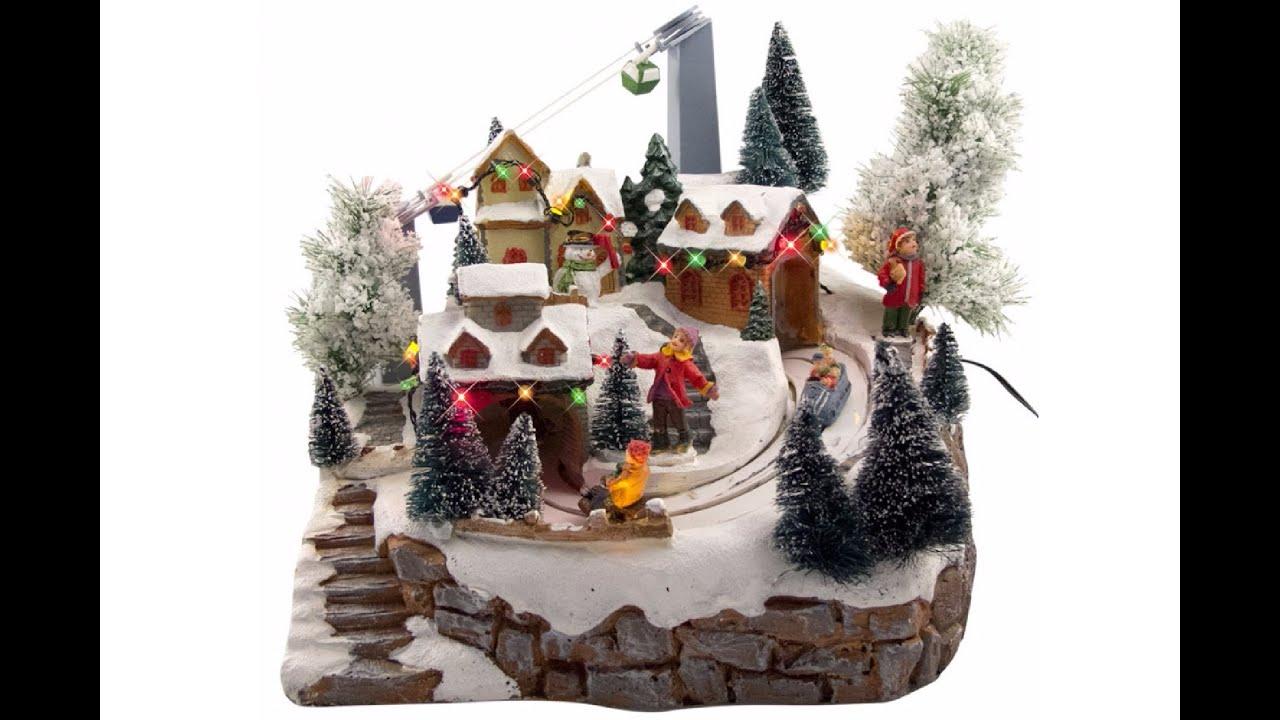 illuminated animated musical ski resort village scene ornament christmas warehouse - Animated Christmas Scene Decorations
