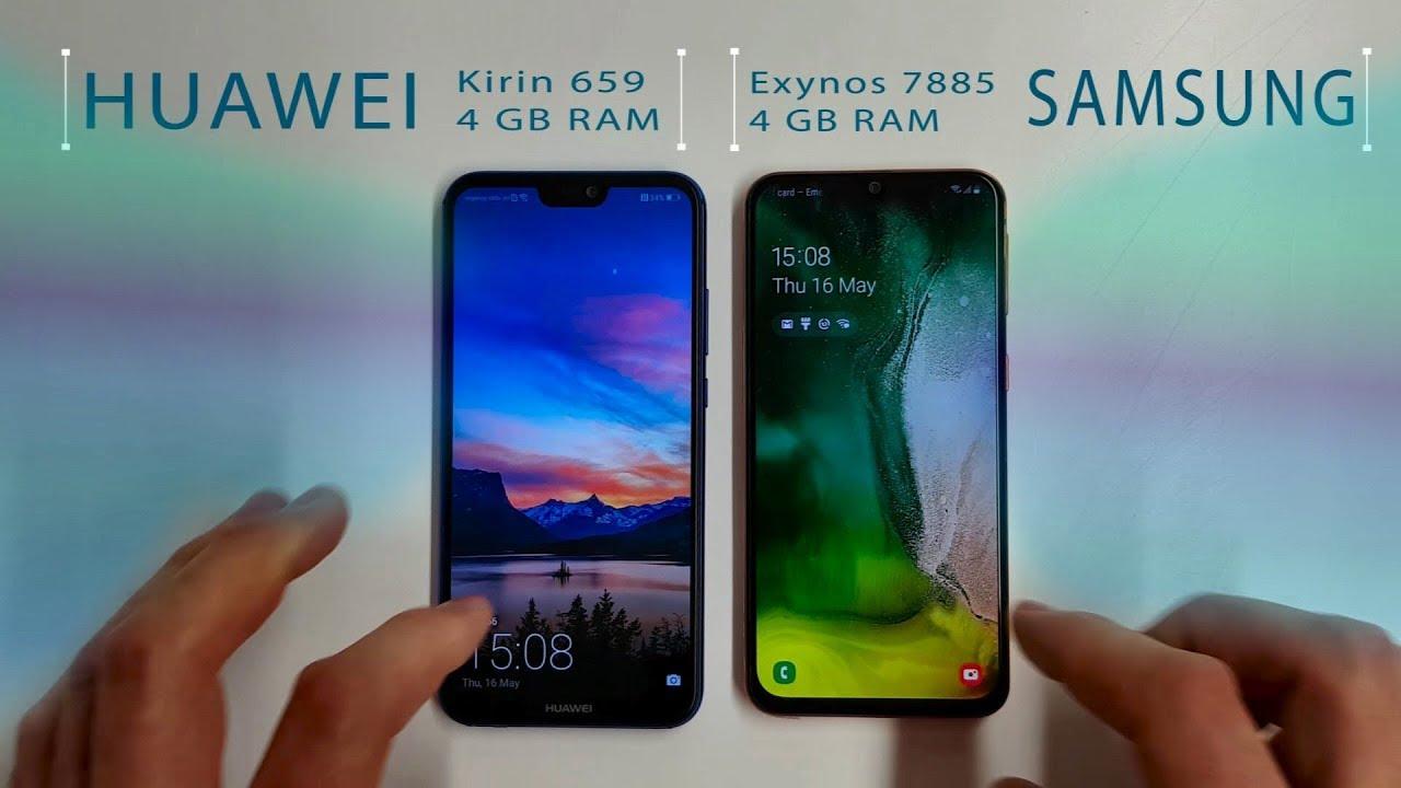 Samsung A40 Vs Huawei P20 Lite Speed Test Youtube