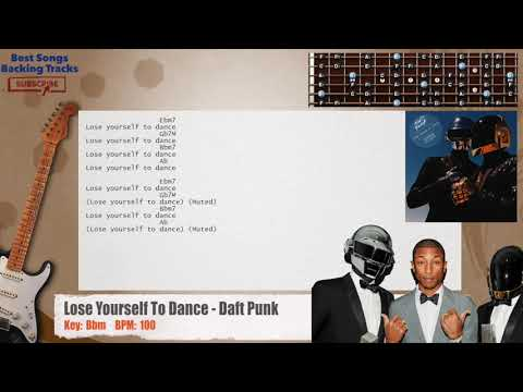 Lose Yourself To Dance - Daft Punk ft. Pharrell Williams Guitar Backing Track with chords and lyrics
