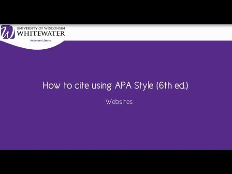 How to cite using APA style (6th ed.): Websites