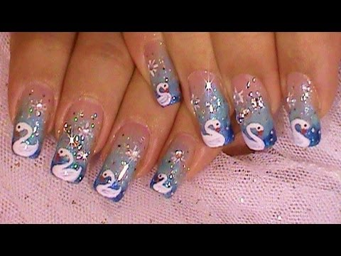 Dreaming Of Swans Blue Ombre Nail Art Design Tutorial Video Youtube