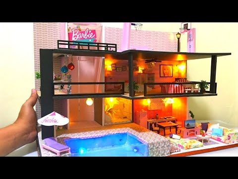 DIY MINIATURE DOLLHOUSE BArbie Dreamhouse with Elevator, Basketball Court, Real Swimming Pool