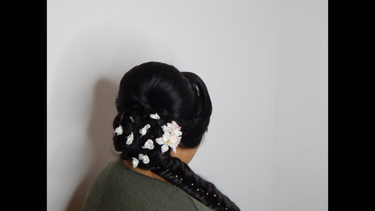indian bridal hairstyle with s wave ,fishtail braid and high puff ...