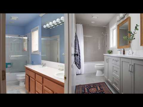 Gray and White Guest Bathroom Remodel