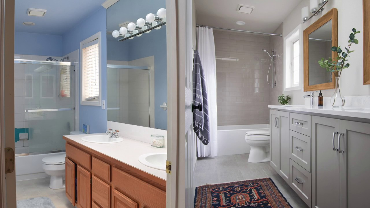 Gray and white guest bathroom remodel youtube - White bathroom ideas photo gallery ...