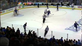 Jaden Schwartz backhand shot goal 3-3 Chicago Blackhawks vs St. Louis Blues 4/17/14 NHL Hockey.