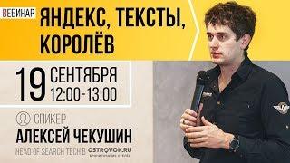 "Вебинар ""Яндекс, тексты, Королёв"" с Алексеем Чекушиным"