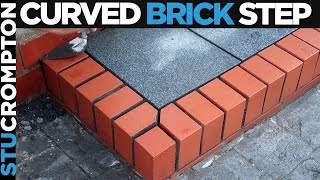 Bricklaying - Building Curved Brick Step with Granite Slate