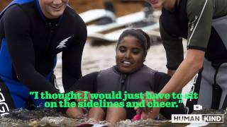 Wakeboard taking young athlete places her legs can't