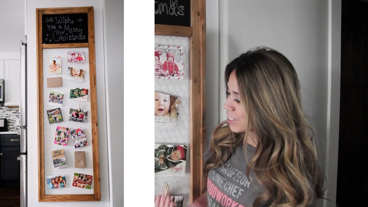 How to Make Chalkboard Chicken Wire Christmas Card Display Frame ...