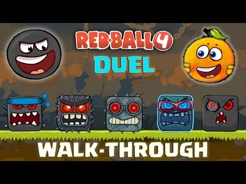 """RED BALL 4 - """"WALK-THROUGH DUEL"""" with BLACK & ORANGE BALL Complete Gameplay (Level 1-75)"""