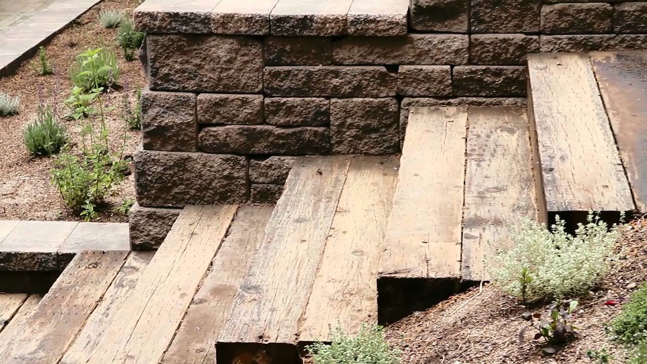 recycled railroad tie stairs
