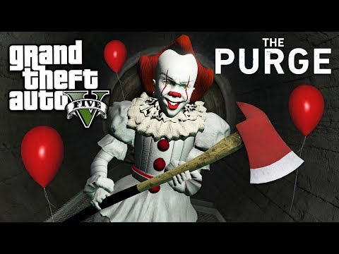 IT MOVIE PENNYWISE in THE PURGE!! (GTA 5 Mods)