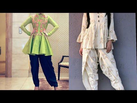 Indian Ethnic Dhoti Salwar Drape short Anarkali Designer Wear || Short Frock With Dhoti Salwar
