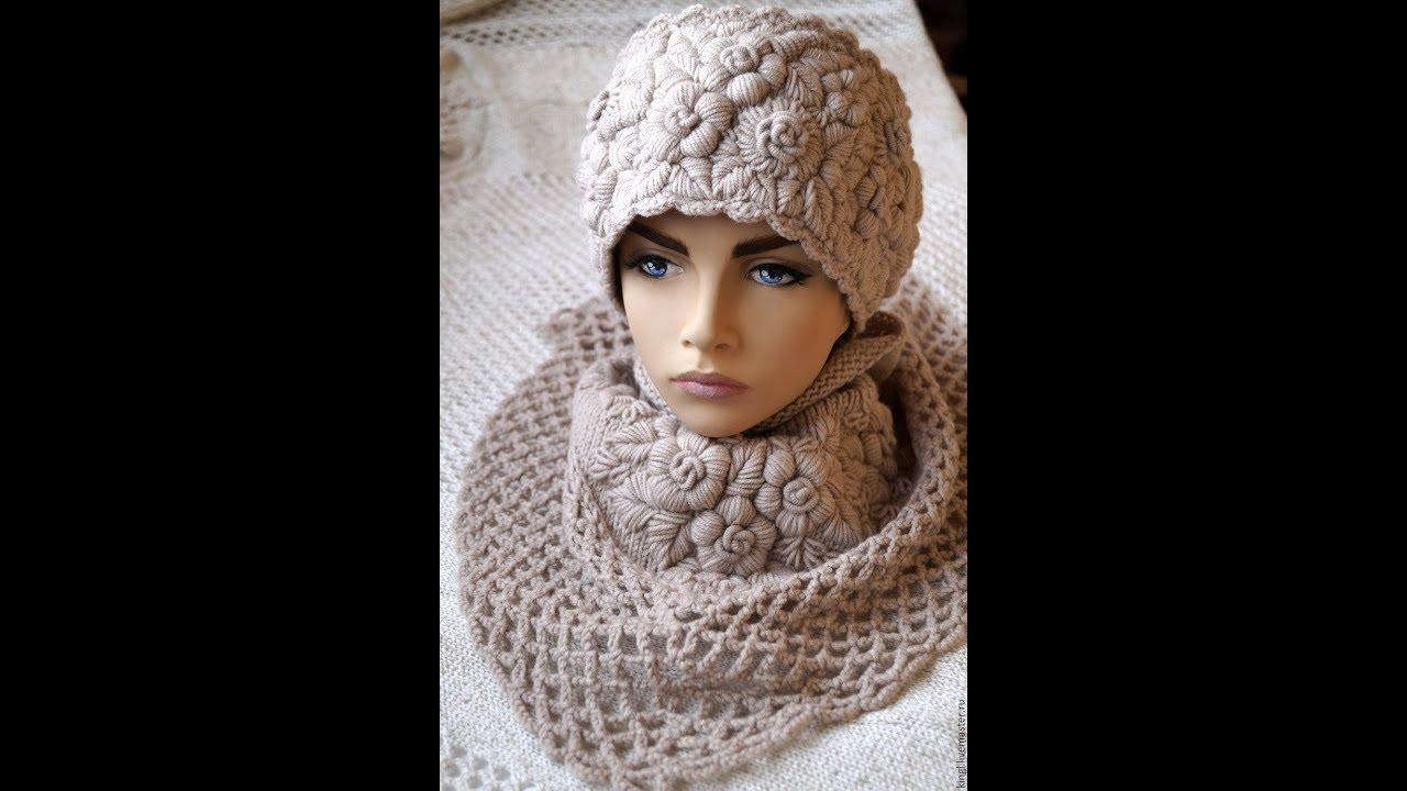 Красивые вязаные шапочки с вышивкой. Beautiful knitted ...