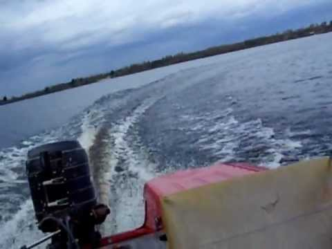 Driving in the lake with russian OB-3 aluminium boat  & mercury 20hp engine.
