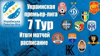 УПЛ Чемпионат Украины по футболу 7 тур итоги матчей результаты расписание 8 тура