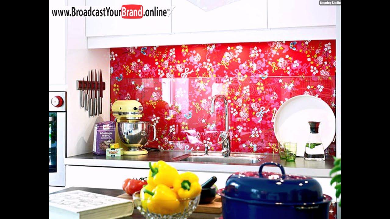 Küchenrückwand Schöne Ideen Fliesenspiegel Blumenmuster