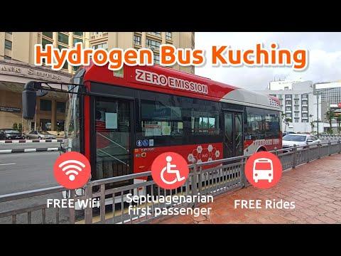 Hydrogen Bus Kuching   Free Herritage Tour 🚃