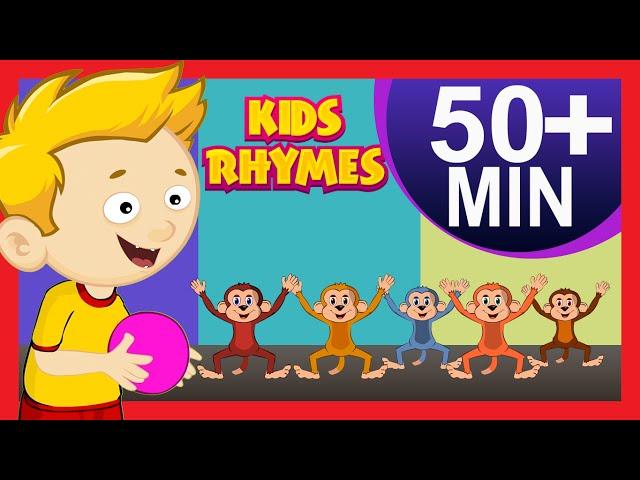 FIVE LITTLE MONKEYS Nursery Rhymes Collection | Kids Hut