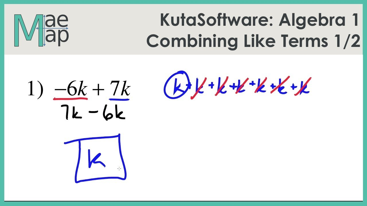 Kutasoftware Algebra 1 Using The Distributive Property Part 1 Youtube