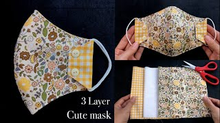 Cute mask DIY Face mask How to make 3 Layer Face mask sewing Tutorial