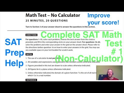 New SAT Official Practice Test # 1 Math Section 3 (Non-Calculator) Full Test - SAT prep help