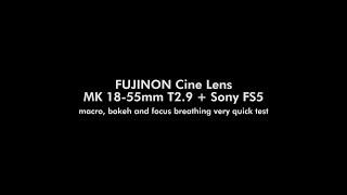 FUJINON Cine Lens MK 18-55mm T2.9 + Sony FS5 (macro, bokeh and focus breathing very quick test)