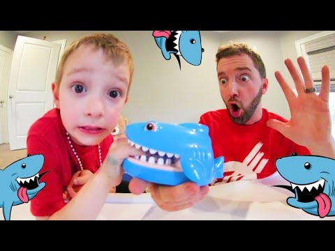 Father & Son PLAY SHARK CHOMP GAME! / Don't Get Bit!