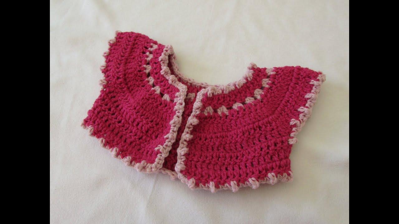 How to crochet a baby bobble bolero / cardigan - YouTube