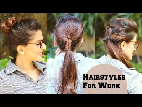 3 QUICK Everyday Hairstyles For Work, Office, College / No T