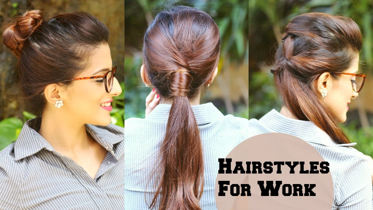 3 Quick Everyday Hairstyles For Work Office College No Teasing No Hairspray Indian Hairstyles