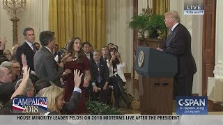 "President Trump to Jim Acosta: ""You should let me run the country. You run CNN."" ""That's enough. Put down the mic. CNN should be ashamed of itself having ..."