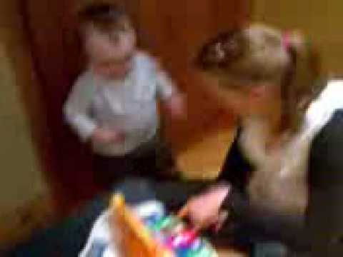 Baby falls after walking into a highchair!