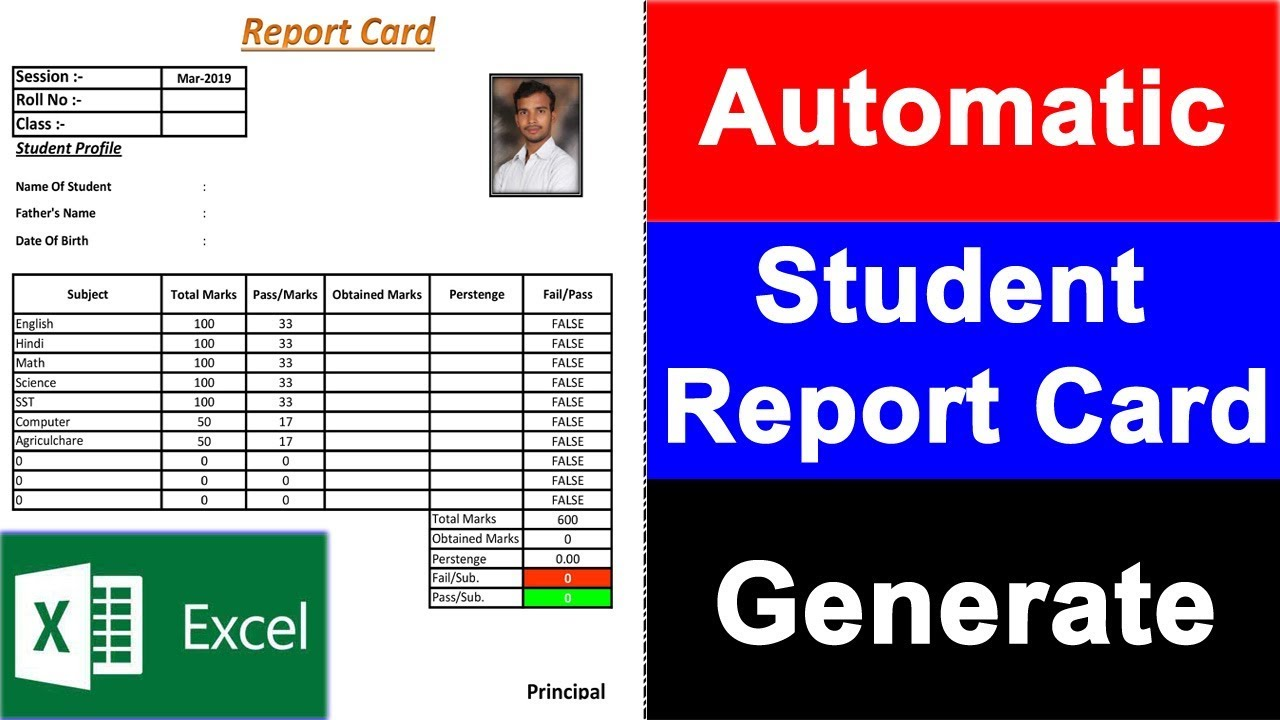 Student Report Card design in ms excel fully automatic ...