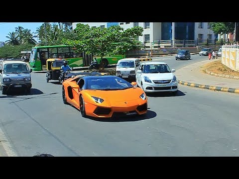 Lamborghinis On Indian Roads In Traffic People Reaction Thuglife