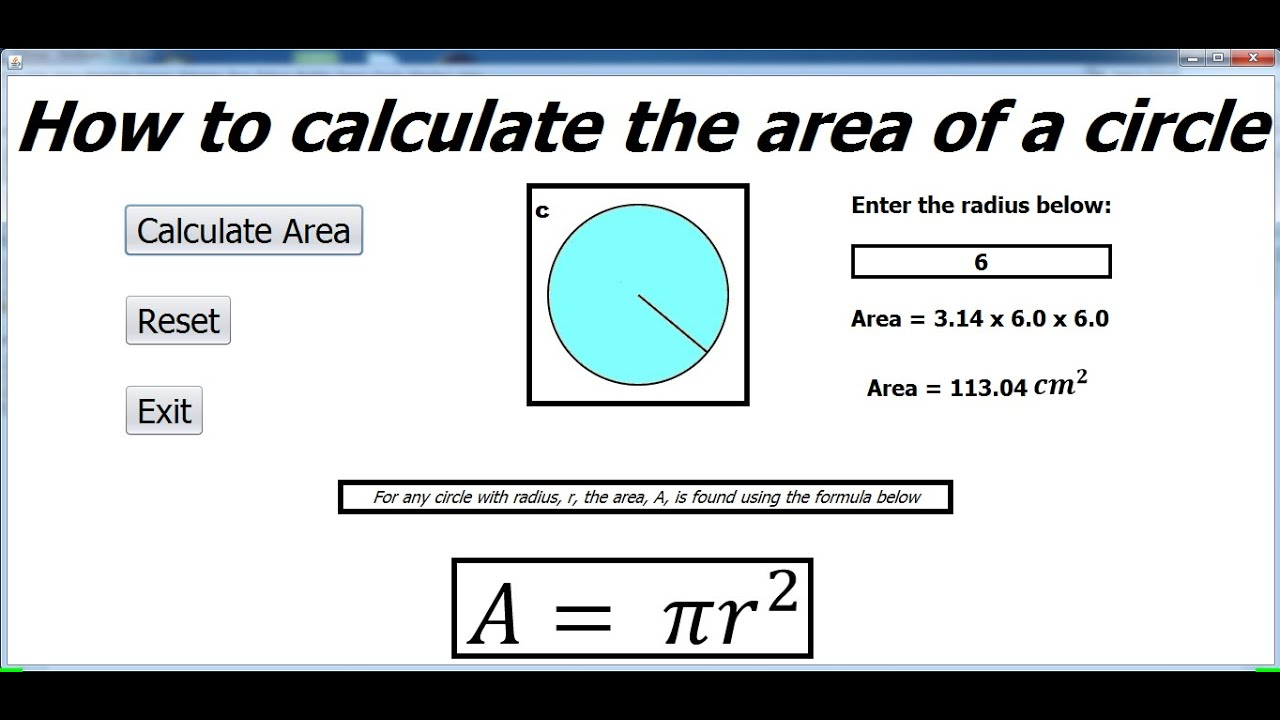 How To Calculate The Area Of A Circle In Javabeans