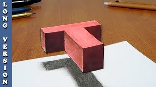Try to do 3D Trick Art on Paper, floating letter T, Long version