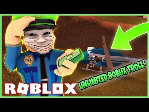 Jailbreak Trolling | THE UNLIMITED ROBUX TROLL! (Roblox)