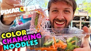 Pixar Fest COLOR CHANGING NOODLES! Disney California Adventure Lucky Fortune Cookery