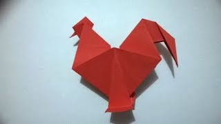 ORIGAMI - GALLO DE PAPEL - how to make a origami rooster