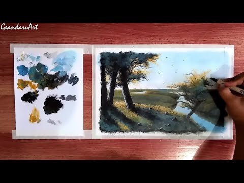 Acrylic painting tutorial for beginners – How to paint beautiful landscape in acrylic // GeandaruArt