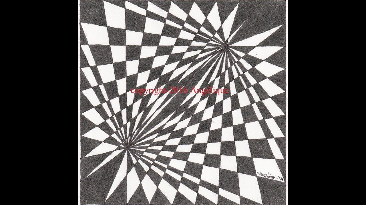 Geometric drawing 4 damier tir youtube for Lino noir et blanc damier