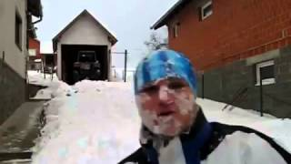 Crazy Man Makes Swimming Snow