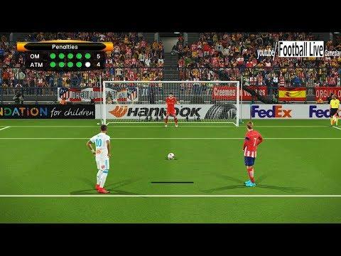 Pes 2018 | penalty shootout | marseille vs atletico madrid | final uefa europa league
