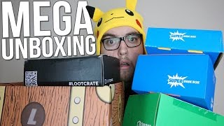 SEPTEMBER 2015 MEGA UNBOXING - Loot Crate, 1Up Box, Super Geek Box, Lootaku